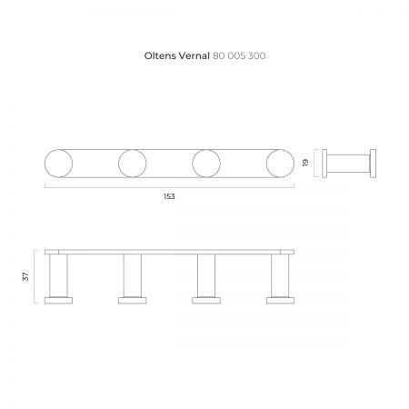 Oltens Vernal haczyk na ręcznik poczwórny czarny mat 80005300