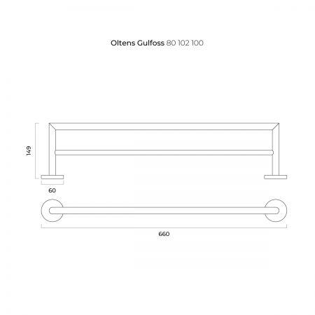 Oltens Gulfoss wieszak na ręcznik 60 cm podwójny chrom 80102100