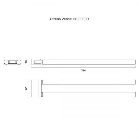 Oltens Vernal wieszak na ręcznik 33 cm dwuramienny ruchomy chrom 80110100