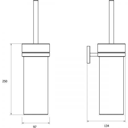 Oltens Gulfoss szczotka do WC wisząca z uchwytem biała ceramika/chrom