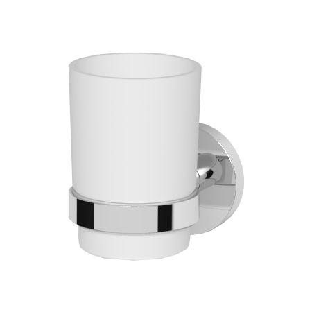 Oltens Gulfoss szklanka z uchwytem biała ceramika/chrom