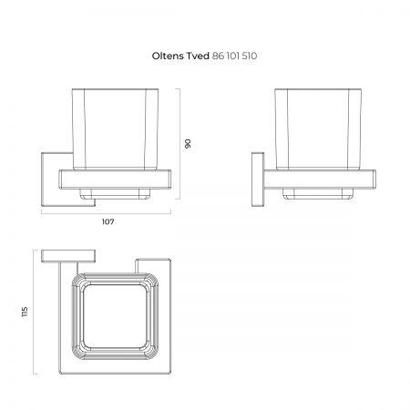 Oltens Tved szklanka z uchwytem szkło szronione/chrom 86101510