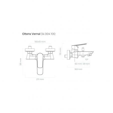 Oltens Vernal bateria wannowo-prysznicowa ścienna chrom 34004100