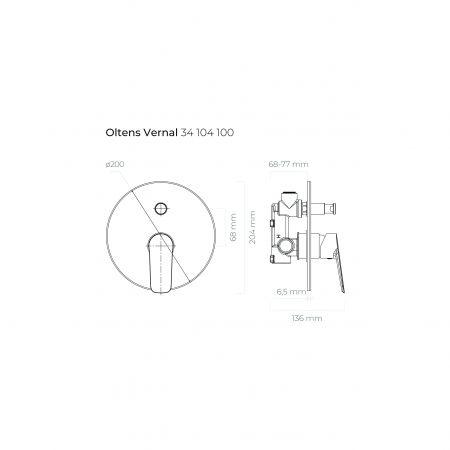 Oltens Vernal bateria wannowo-prysznicowa podtynkowa kompletna chrom 34104100