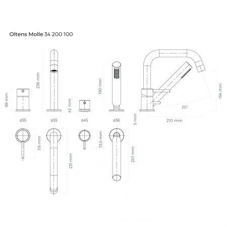 Oltens Molle bateria wannowo-prysznicowa kompletna 4-otworowa chrom 34200100