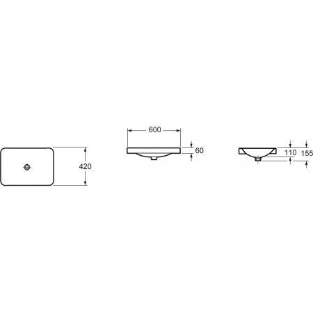 Oltens Kagera umywalka 60x42 cm nablatowa z powłoką SmartClean