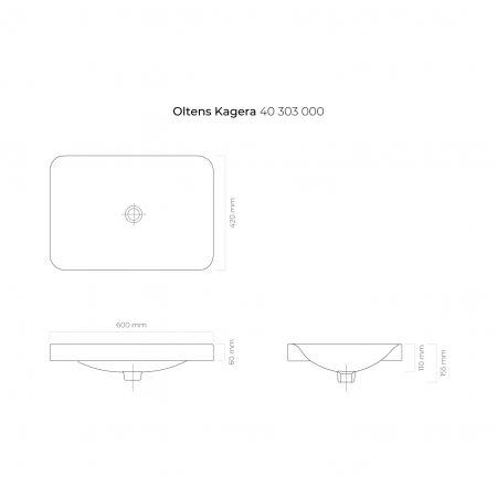 Oltens Kagera umywalka 60x42 cm nablatowa