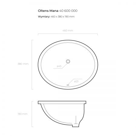 Oltens Mana umywalka 46x38 cm podblatowa z powłoką SmartClean
