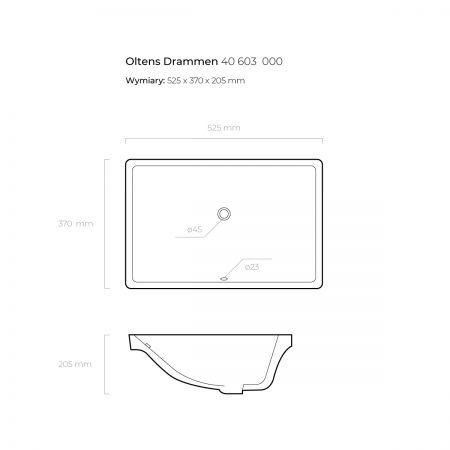 Oltens Drammen umywalka 52,5x37 cm podblatowa z powłoką SmartClean