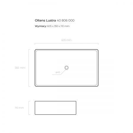 Oltens Lustra umywalka 60,5x35 cm nablatowa z powłoką SmartClean