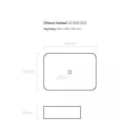 Oltens Hadsel umywalka 50x40 cm nablatowa z powłoką SmartClean
