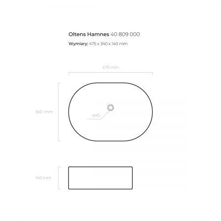 Oltens Hamnes umywalka 47,5x34 cm nablatowa z powłoką SmartClean