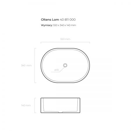Oltens Lom umywalka 55x34 cm nablatowa z powłoką SmartClean