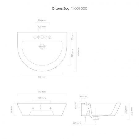 Oltens Jog umywalka 61x49 cm wisząca biała 41001000
