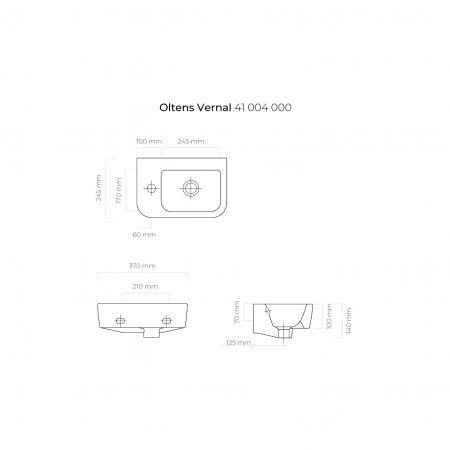 Oltens Vernal umywalka 37x24,5 cm wisząca lewa biała 41004000