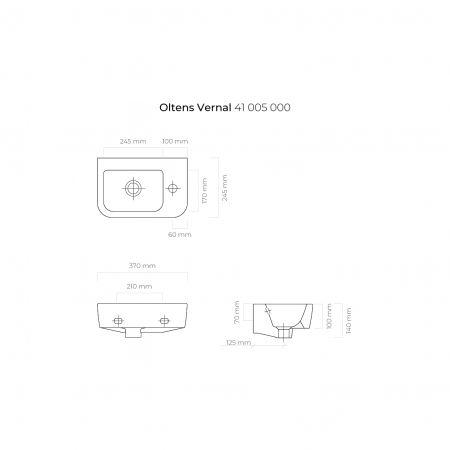 Oltens Vernal umywalka 37x24,5 cm wisząca prawa biała 41005000
