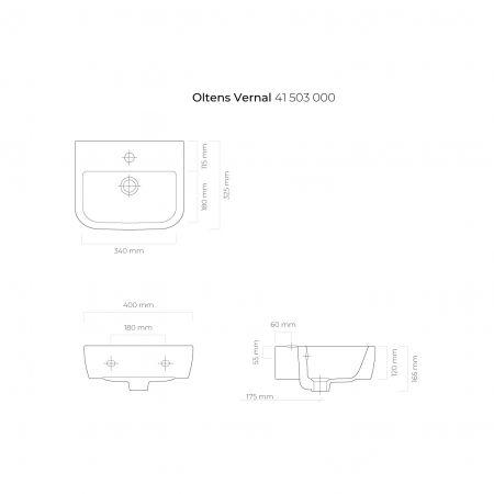 Oltens Vernal umywalka 40x32,5 cm wisząca z powłoką SmartClean