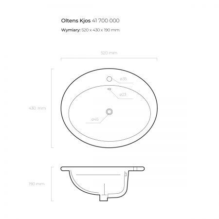 Oltens Kjos umywalka 52x43 cm wpuszczana w blat z powłoką SmartClean
