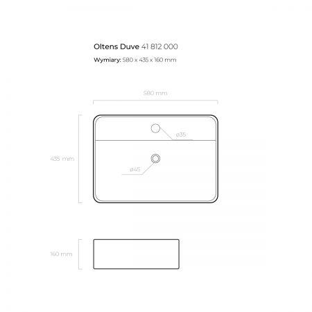 Oltens Duve umywalka 58x43,5 cm nablatowa z powłoką SmartClean