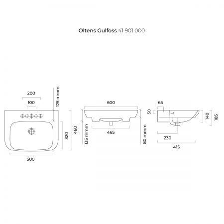 Oltens Gulfoss umywalka 60x46 cm nablatowa częściowo wpuszczana z powłoką SmartClean biała 41901000