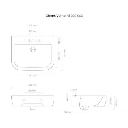 Oltens Vernal umywalka 56x45 cm wisząca biała 41002000
