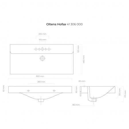 Oltens Hofsa umywalka 80x46 cm nablatowa