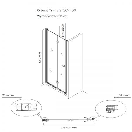 Oltens Trana drzwi prysznicowe 80 cm wnękowe 21207100