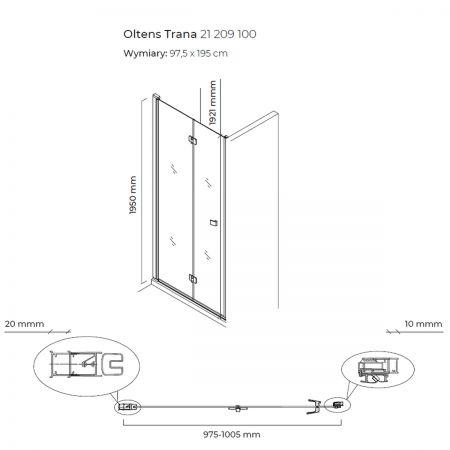 Oltens Trana drzwi prysznicowe 100 cm wnękowe 21209100