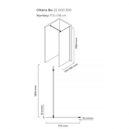 Oltens Bo ścianka prysznicowa Walk-In 80 cm profil czarny mat 22000300