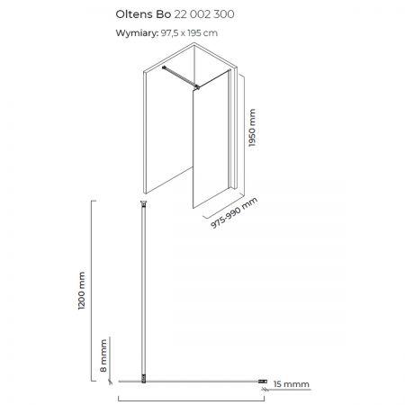 Oltens Bo ścianka prysznicowa Walk-In 100 cm profil czarny mat 22002300