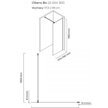 Oltens Bo ścianka prysznicowa Walk-In 120 cm profil czarny mat 22004300