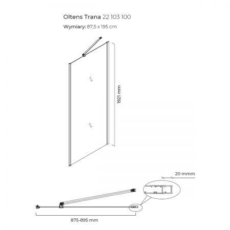 Oltens Trana ścianka prysznicowa 90 cm boczna do drzwi 22103100