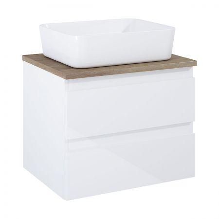 Oltens Vernal szafka 60 cm podumywalkowa wisząca z blatem biały połysk/dąb 60000060