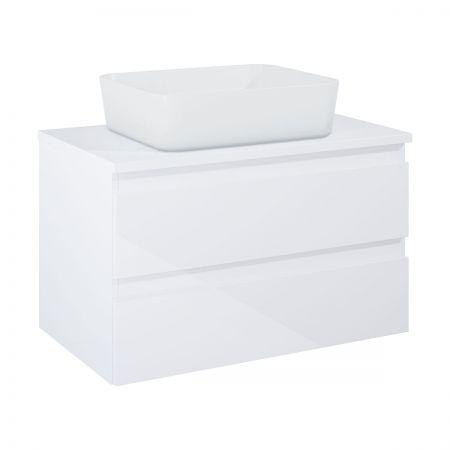 Oltens Vernal szafka 80 cm podumywalkowa wisząca z blatem biały połysk 60007000