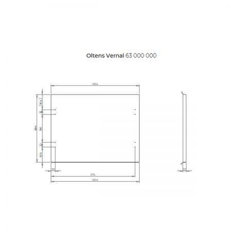 Oltens Vernal szafka 60 cm podumywalkowa wisząca z blatem biały połysk 60006000