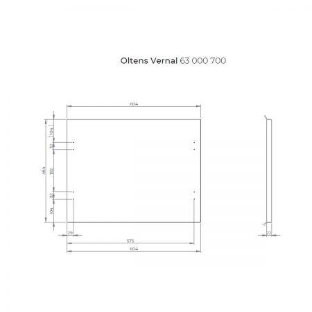 Oltens Vernal szafka 60 cm podumywalkowa wisząca z blatem szary mat 60003700