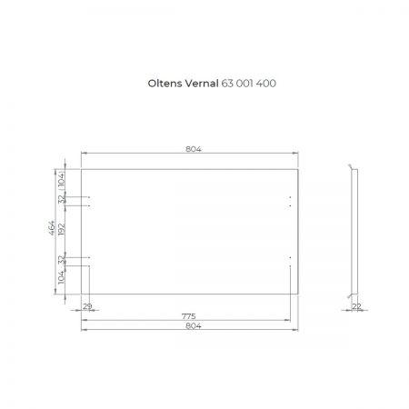 Oltens Vernal szafka 80 cm podumywalkowa wisząca z blatem grafit 60004400