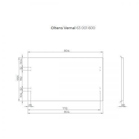 Oltens Vernal szafka 80 cm podumywalkowa wisząca z blatem biały połysk/dąb 60001060
