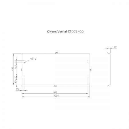 Oltens Vernal szafka 100 cm podumywalkowa wisząca z blatem grafit 60005400