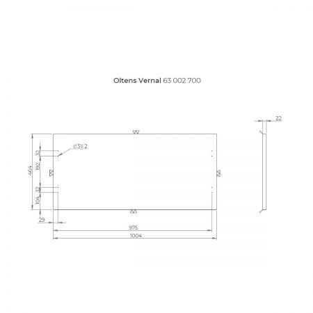 Oltens Vernal szafka 100 cm podumywalkowa wisząca z blatem szary mat 60005700