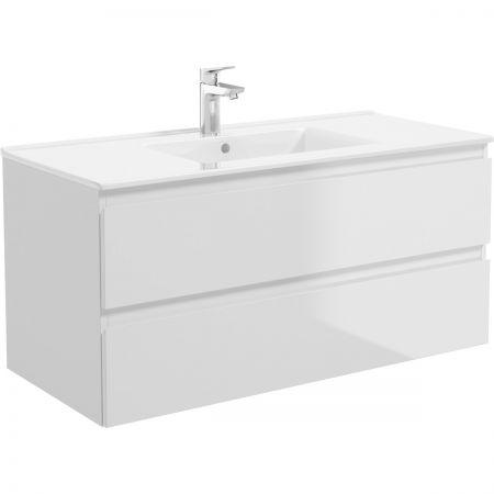 Oltens Vernal szafka 100 cm podumywalkowa wisząca z blatem biały połysk/dąb 60002060
