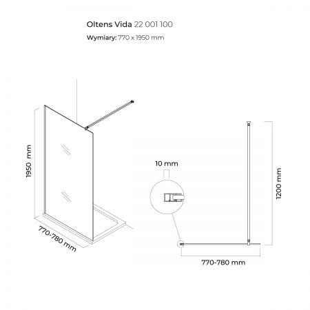 Oltens Vida ścianka prysznicowa Walk-in 80 cm 22001100