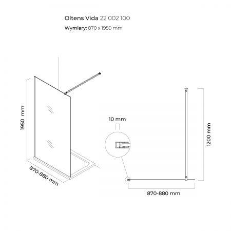 Oltens Vida ścianka prysznicowa Walk-in 90 cm 22002100