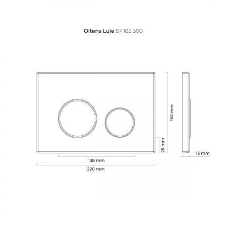 Oltens Lule przycisk spłukujący do WC czarny mat/chrom/czarny mat