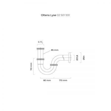 Oltens Lyse syfon umywalkowy mosiężny rurowy chrom 02501100