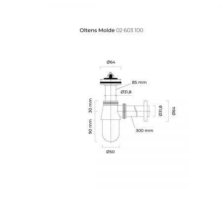 Oltens Molde syfon umywalkowy butelkowy z korkiem chrom