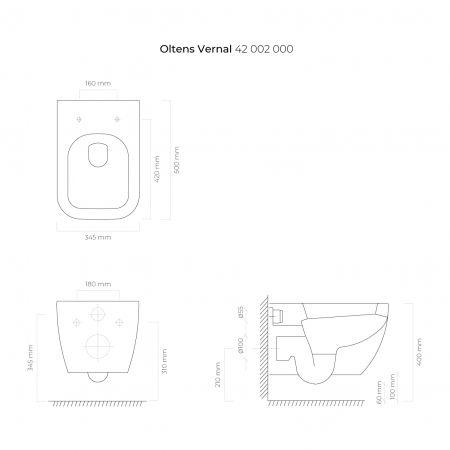 Zestaw Oltens Vernal miska WC wisząca PureRim z deską wolnoopadającą Slim 42007000