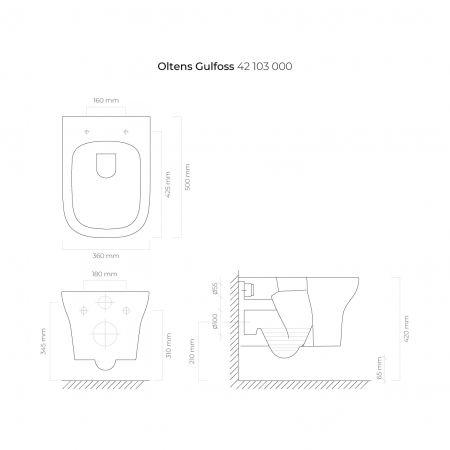 Zestaw Oltens Gulfoss miska WC wisząca PureRim z powłoką SmartClean z deską wolnoopadającą Slim 42509000