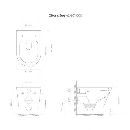 Oltens Jog miska WC wisząca z powłoką SmartClean biała 42601000