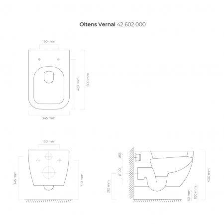 Oltens Vernal miska WC wisząca z powłoką SmartClean biała 42602000